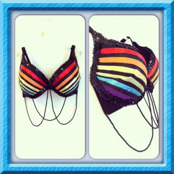 Black Rainbow Satin Dance Bra // White Option As Well
