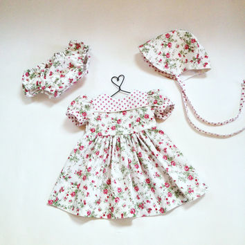 3 to 6 month baby dress summer outfit infant set with baby bonnet & diaper cover summer dress floral dress pink dress baby shower new baby