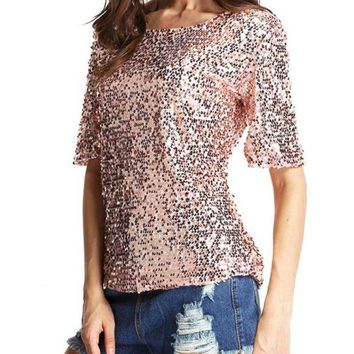 B| Chicloth Stylish Bling Bling Sequin Sparkle Glitter Half Sleeve Pink T-Shirt