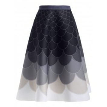 Fashion Fish Scale Print Ombre High Waisted Skirt For Women