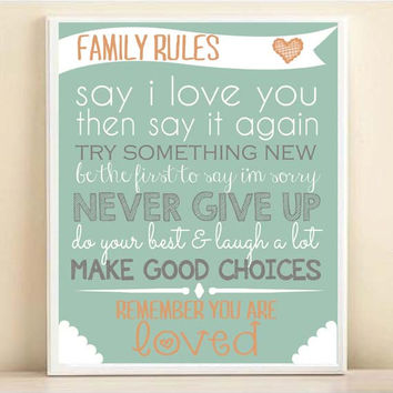 Family Rules Subway Art Print: 8x10 or 11x14 Typography Quote Poster in Mint & Orange
