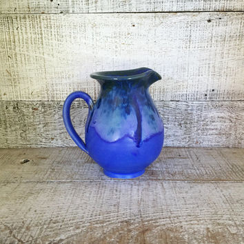 Pitcher Blue Pottery Pitcher Handmade Pottery Vase Ceramic Flower Vase Farmhouse Chic Pottery Water Pitcher Ceramic Pitcher Drip Glaze Vase