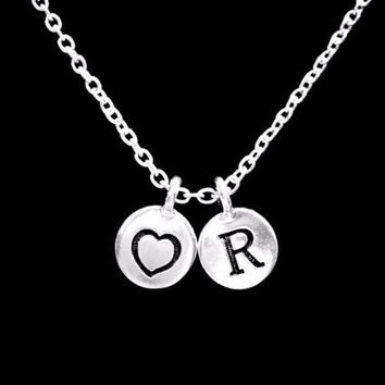 Choose Initial, Heart Drop Mother's Day Gift Wife Girlfriend Mom Necklace