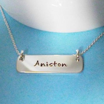 Horizontal Bar Necklace - Sterling Silver - Personalized Handstamped Jewelry - Design Your Own