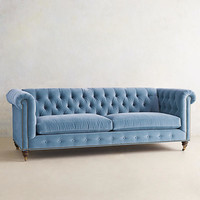 Velvet Lyre Chesterfield Sofa, Hickory