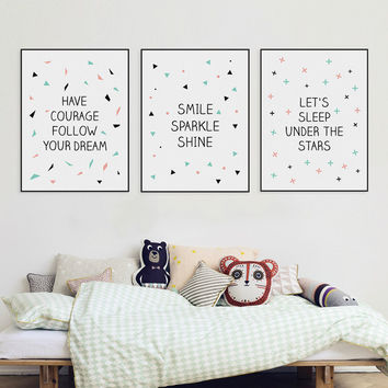 Modern Nordic Minimalist Typography Star Quote A4 Canvas Art Print Poster Nursery Wall Picture Painting No Frame Kids Room Decor