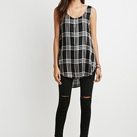 Curved-Hem Tartan Plaid Top