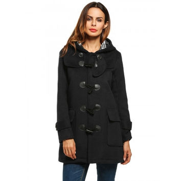 Winter Hooded Long Sleeve Solid Duffle Coat Outwear