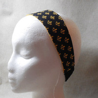 Pretty Black and Gold Fleur-de-lis Headband