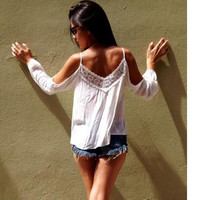Spaghetti Strap Lace Patchwork V-neck Long Sleeves Blouse