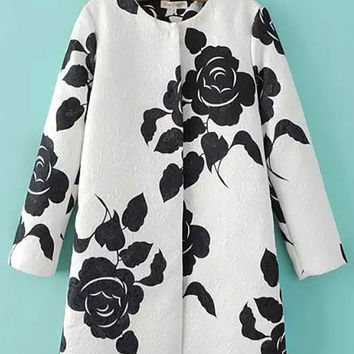 White Rose Print Long Sleeve Trench Coat