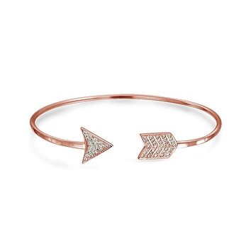 Cupids Arrow Tips Bangle Cuff Bracelet 14K Gold Plate Sterling Silver