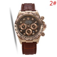 Rolex Fashion New Leather Watchband Women Men Leisure Watch Wristwatch