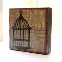 5x5 Wood Art Block Bird Cage and Cork Bottles vintage wall decor free shipping