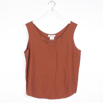 Vintage Simple Tank 1980s Blouse Sienna Brown Sleeveless Lace Trim Applique Tank Top 80s Minimalist Camisole Draped Tee S M Medium L Large