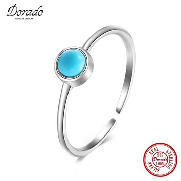 Dorado Hot Selling Fashion Style 925 Sterling Silver Jewelry Turquoise Open Rings For Women Party Wedding