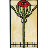 Arts and Crafts Parker Poppy Stained Glass