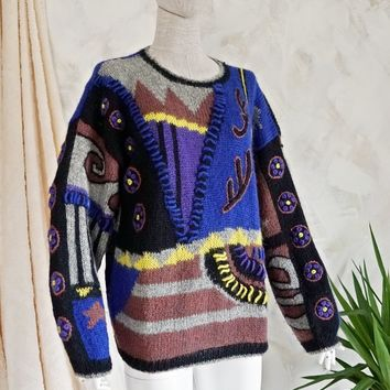 Vintage 1980s Abstract + Multi Texture Sweater