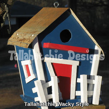Wacky Wood Birdhouse, Whimsical Birdhouse, Colorful Birdhouse, Yard and Garden Decor, Colorful Decor, Cottage Chic, Outdoor