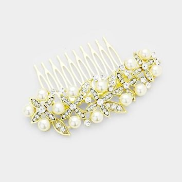 Pearl & Crystal Pave Accent Floral Hair Comb