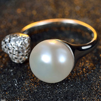 Platinum Plated 925 Sterling silver Ring. cubic zirconia diamond. faux pearl ring. heart shape open ring. wedding bridesmaid, birthday gift