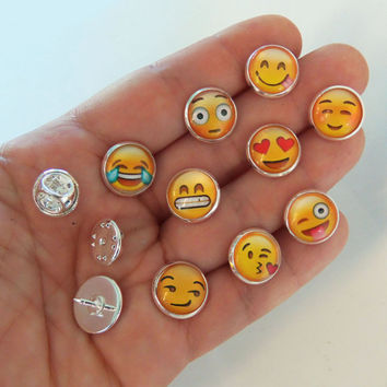 Set of 9 emoji pins, emoji, pin back buttons, button, pin backs, pinbacks, brooches, brooch, tie tack, clutch pin, scatter pins, push pin