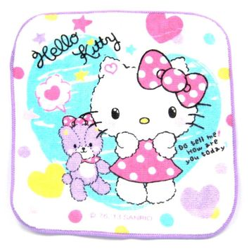 Tiny Hello Kitty and Teddy Bear Heart and Stars Print Handkerchief Face Towel in White