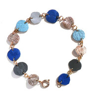 Leather bubbles geometric  bracelet in blue, gold and grey circles