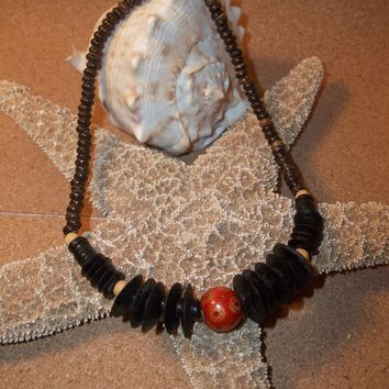 """Vintage Bohemian Hand Crafted Wooden Beaded 18"""" Stretch Necklace"""