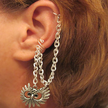 No Piercing Handmade Bajoran Style Owl Ear Cuff with Chain Cartilage, Helix, Conch