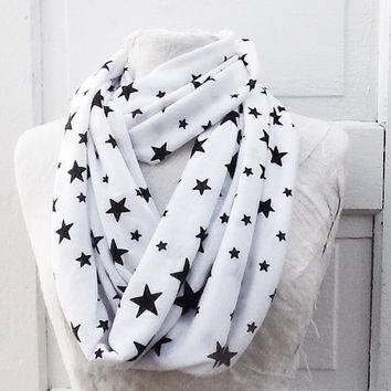 Star Infinity Scarf, Womens Casual Loop Scarf, Black and White Cotton Jersey, Summer Accessory