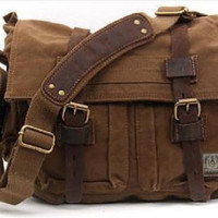 Canvas Messenger Vintage Leather Camera Bag Portable Shoulder Bag Diagonal Tote DSLR Bag