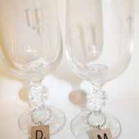 Custom Scrabble Letter Wine & Champagne Glass Charms - perfect for weddings, receptions, bridal shower, present toppers,and anniversaries