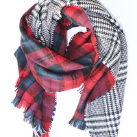 Red Plaid and Houndstooth Reversible Scarf