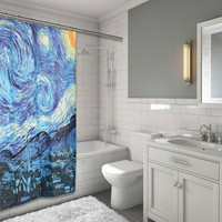 """BenandJonah Collection Fabric Shower Curtain 70 x 72"""" The Starry Night"""