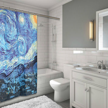 "BenandJonah Collection Fabric Shower Curtain 70 x 72"" The Starry Night"
