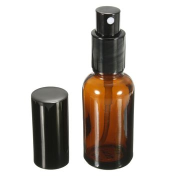 New 1PCS 30ML Amber Glass Atomizer Bottle Vial For Essential Oil Perfume Water Spray Bottles Dark Brown Cosmetic Containers