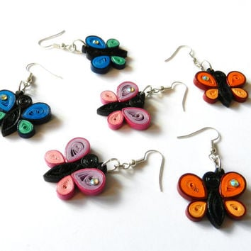 Pink blue orange earrings handmade paper quilled butterflies