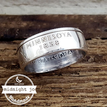 Minnesota 90% Silver State Quarter Coin Ring