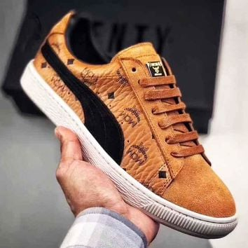 MCM X PUMA Wing Print Logo Women Men Trending Sneakers Flat Shoes B-CSXY Brown