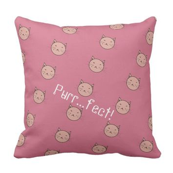 Dusty Pink Cat Pillow