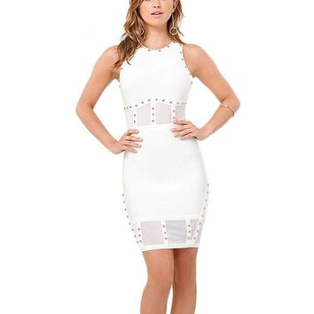 White Studded Mesh Bodycon Dress Mini Dress Clubwear