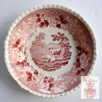 French Farmhouse Scene Grazing Sheep & Cows / Cattle Red Transferware Candy Dish Berry Bowl
