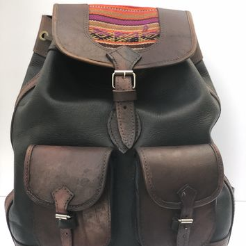 ****SALE**** Handmade Brown Genuine Leather Aguayo Backpack Bag