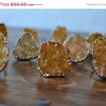 ON SALE LUX Divine /// Citrine Cluster Druzy /// Stackable Gemstone Gold Electroformed Ring