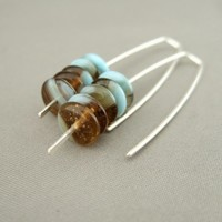 Blue and Brown Stacked Czech Glass and Sterling Silver Earrings | The Silver Forge Handcrafted Jewellery