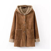 Camel Hooded Suede Coat With Pocket