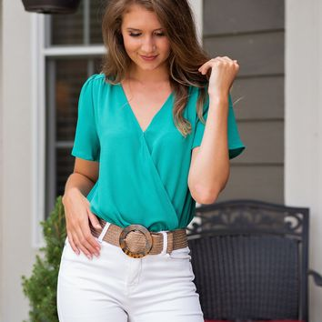 Exclusive Club Wrap Flutter Sleeve Bodysuit Blouse : Green