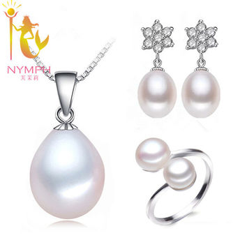 NYMPH delicate fashion Pearl Jewelry Set fine jewelery chain choker Necklace charm Pendant Earrings rings For Women accessory