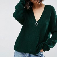 ASOS Oversized Cardigan with Zip Front at asos.com